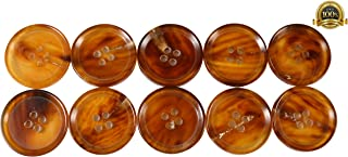 Set of 10 Premium Genuine Chestnut Brown and Tan Buffalo Horn Buttons 25mm 1 Inch for Pea Coats, Overcoats, Winter Coats, Trench Coats