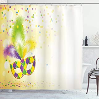 Ambesonne Mardi Gras Shower Curtain, Festival Mask with Ornamental Feathers Colorful Dots Party, Cloth Fabric Bathroom Decor Set with Hooks, 70