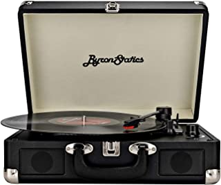 Byron Statics Turntable Vintage Record Player Portable Vinyl Player Nostalgic Built in 2 Stereo Speakers 3 Speeds Replacement Needle DC in Standard RCA Headphone Outputs for Christmas
