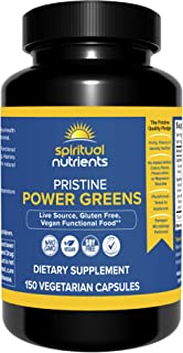 Spiritual Nutrients Pristine Power Greens | Live Source, Organic, Gluten Free, Vegan Superfood | Non-GMO, Soy-Free | 150 C...