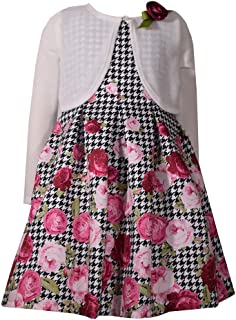 Floral Sleeveless Dress with White Sweater Cardigan for Little Girls