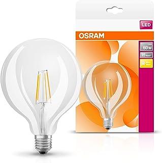 Osram Ampoule LED Filament, Globe, Culot E27, 6W Equivalent 60W, 220-240V, claire, Blanc Chaud 2700K, Lot de 4 pièces