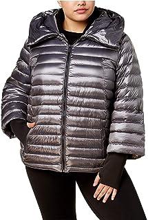 d5c36cf1c15 Calvin Klein Women s Performance Plus Size Hooded Puffer Jacket Metallic  Granite 2X
