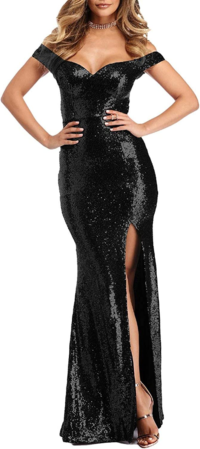Sound of blossoming Women's Off The Shoulder Sequins Prom Dresses Long Mermaid Side Slit Evening Gowns SOB271