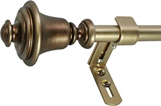 "Decopolitan Bell 5/8"" Curtain Rod Set, 26 to 48 Inches, Vintage Brass"