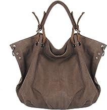 Estarer Damen Handtasche Schultertasche Beutel Hobo Tasche aus Canvas Coffee