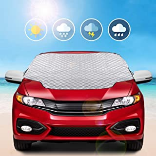 MYSBIKER Car Windshield Snow Cover,Car Sunshades for Windshield with Magnetic Edges Snow, Ice Defense No Scratches (Silver)