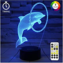ZOKEA Night Light 3D lamp 7 Colors Changing Nightlight with Smart Touch & Remote Control 3D Night Light for Kids or as Gifts for Women Kids Girls Boys (Cute Dolphin)