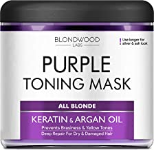 Purple Hair Mask with Retinol & Keratin - Made in USA - for Blonde, Platinum & Silver Hair - Banish Yellow Hues, Reduce Br...