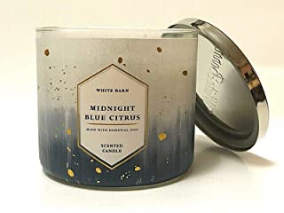 Whte Barn Bath and Body Works 3 Wick Scented Candle Midnight Blue Citrus 14.5 Ounce with Essential Oils