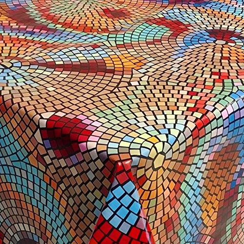 Tovaglia cerata, tovaglia da giardino, motivo a mosaico, rettangolare, 130 x 280 cm, lavabile, piegata