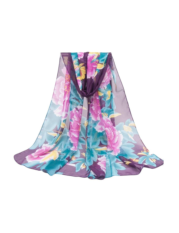 ドレスヌー レディース ファッション シフォン エレガント 牡丹花プリント UVカット 防紫外線 薄手 ロング スカーフ 全12色