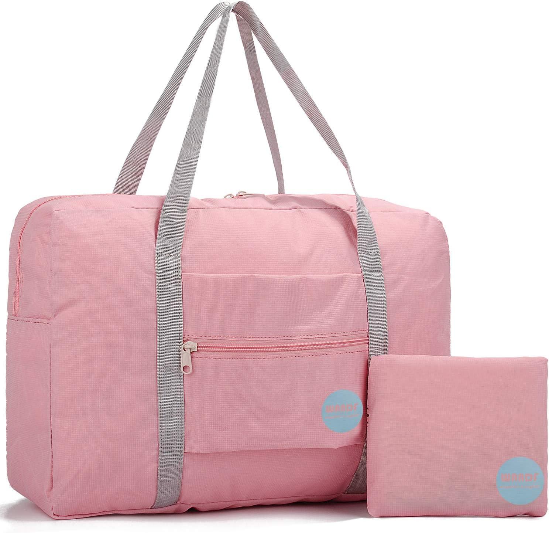 WANDF Foldable Travel Duffel Bag Super Lightweight for Luggage, Sports Gear or Gym Duffle, Water Resistant Nylon (25L Rosa,)
