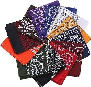 12pcs Bandana, Assorted Bandanas 22X22 100% Cotton, Double Sided Print Paisley Bandana Party Favor Scarf Headband Handkerchiefs