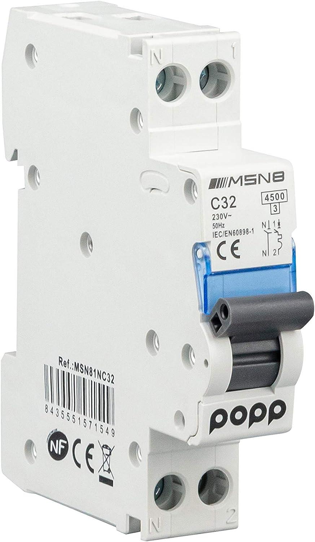POPP® Interruptor Automático Magnetotérmico industrial CURVA C DPN SERIE MSN81NC 6A 10A 16A 20A 25A 32A 40A (DPN, 32A)