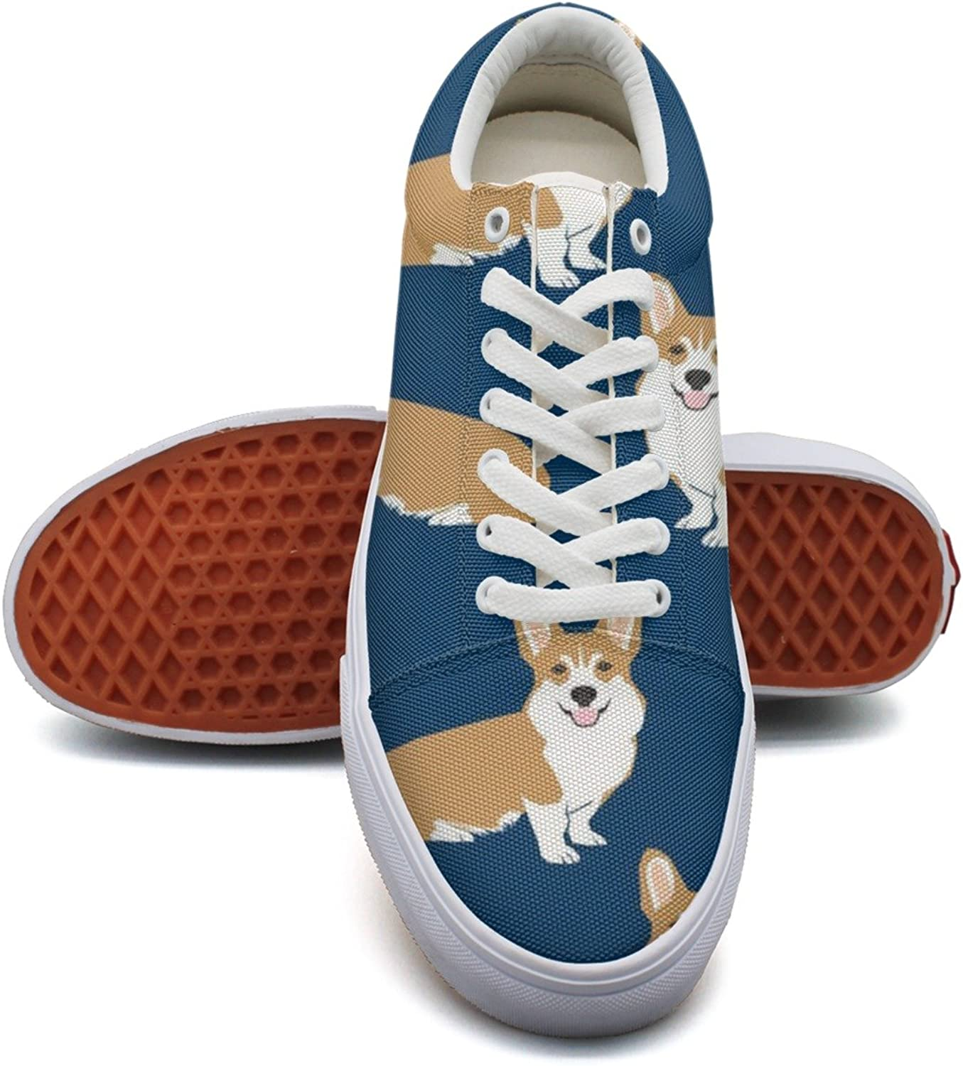 Navy Corgi Dog Pet Puppy Fashion Canvas Sneakers shoes For Womns 3D Printed Low Top shoes