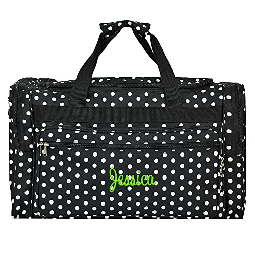 1162be249412 Personalized Black and White Polka Dot Duffle Bag 22 Inch
