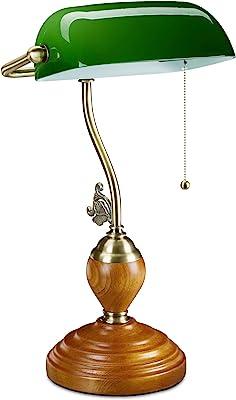 Relaxdays Lampe de banquier interrupteur à tirette, abat jour inclinable, socle bois, design retro, douille E27, bureau 10034424 Vert