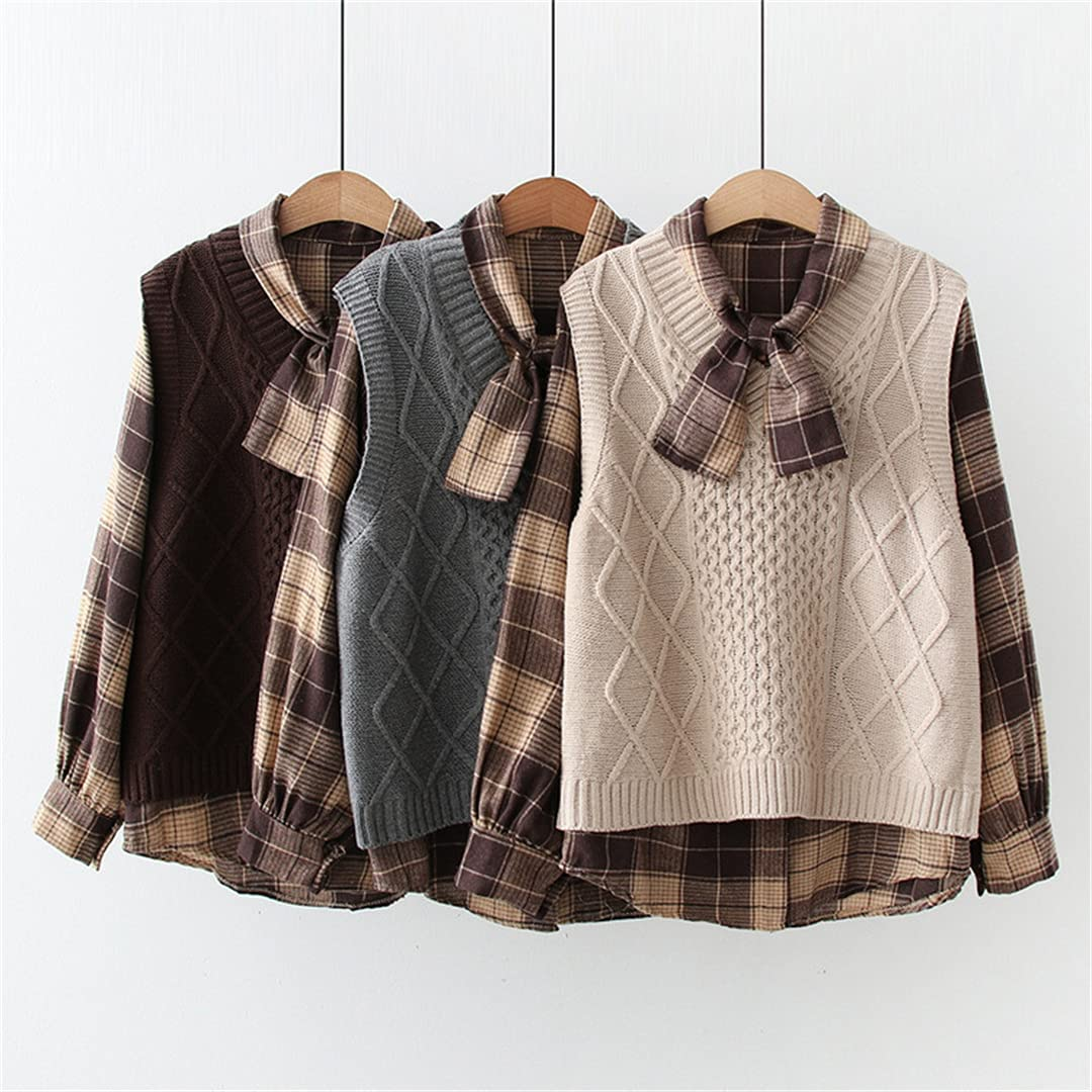 Fall Vest & Blouse 2 Piece Sets for Women Korean Long Sleeve Plaid Shirt Knitted Tank Suit