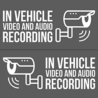 Zippy Stickers   in Vehicle Video and Audio Recording Vinyl Decal Stickers, Dash Cam Decals 4X (2X Driver Side, 2X Passenger Side) - White - 5.5 Inches W - DashCam Security
