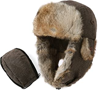 SIGGI 100% Rabbit Fur Earflaps Trapper Hat Wool Blend Russian Hat w/Mask Unisex