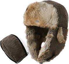 SIGGI 100% Rabbit Fur Earflaps Trapper Hat Wool Blend Russian Hat w/Mask Unisex