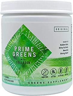 Prime Greens with Collagen | Premium Green Superfood Powder for Detoxification, Radiant Skin, Renewed Energ...