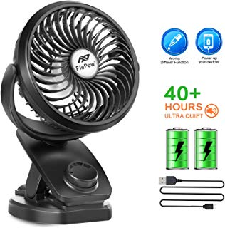 Battery Operated Clip on Stroller Fan - 40 Hours Portable Mini Desk Fan with Rechargeable 4400mA Battery, USB Powered for Baby Stroller Office Outdoor Travel (2019 Upgrade)