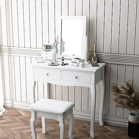 3 cassetti sgabello in legno di pino per camera da letto colore: Bianco Tavolo da toeletta moderno con specchio ovale DlandHome spogliatoio