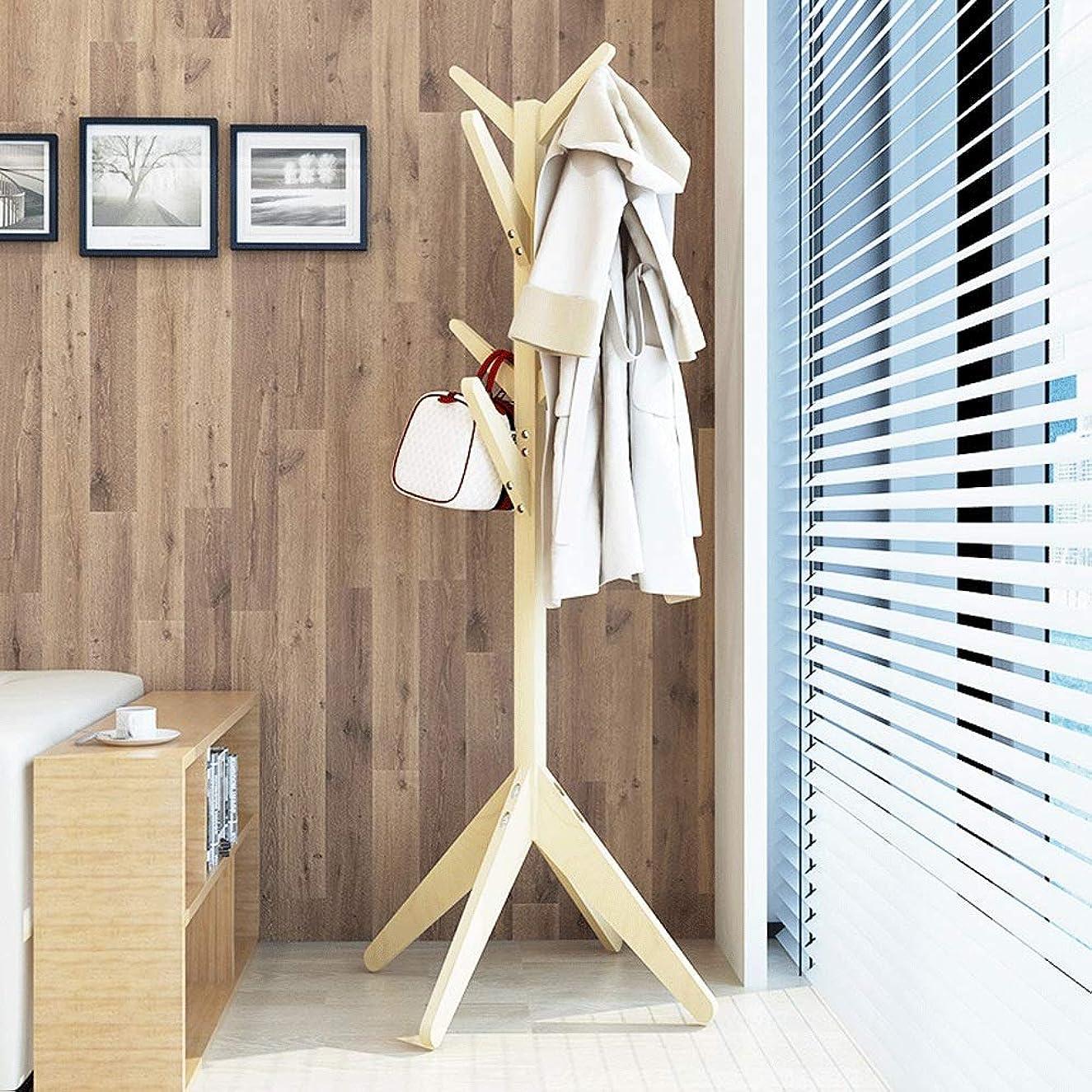 吸い込む謝るカーペット耐久性のある木製コートラックスタンド出入口ホールツリーコートツリー用帽子服財布スカーフハンドバッグ傘 たくさんのストレージをもたらす (Color : Natural, Size : 60×169cm)