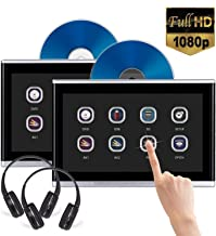 Dual Headrest DVD Player 10.1 inch Touch Screen 1080P for car Back seat Entertainment, AV in/Out, IR/FM Transmitter, Support DVD/USB/TF/Game, 2pcs Free IR Headphone