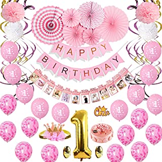 Baby Girl 1st Birthday Decoration Kit with Crown, Baby Pink Birthday Party Supplies, Baby Photo Banner Latex Balloons Cake Topper Paper Decor and Hangings