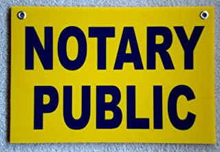 Peter Select Notary Public Coroplast Sign with Grommets 12''x18'' Horizontal Blue on Yellow Funny Retro Vintage Business Nostalgic Signs