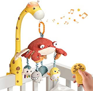 tumama Baby 0-6 Month Cot Mobile Crib Toys Giraffe Musical Lights Remote Control with Mirror Soft Hanging Rattles Lullaby ...