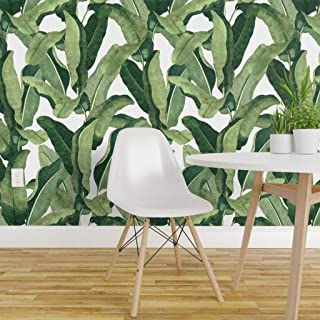 Spoonflower Peel and Stick Removable Wallpaper, Tropical Palms Banana Leaf Print, Self-Adhesive Wallpaper 12in x 24in Test Swatch