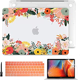 Batianda MacBook Pro 13 inch Case 2019 2018 2017 2016 Release A2159 A1989/A1706/A1708, Matte Clear See Through Hard Cover Keyoard Skin for Newest Pro 13.3 inch W/Without Touch Bar Touch ID, Flower