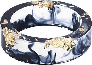 Kingfishertrade-ltd لون أسود يدوي مع ورق ذهبي راتنج شفاف / خاتم سحر من البلاستيك للنساء/الرجال، يأتي مع صندوق هدايا
