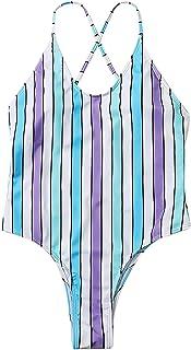 ZGMYC Women One Piece Rainbow Striped Swimsuit Sexy Cross Back High Cut Bathing Suit Monokini