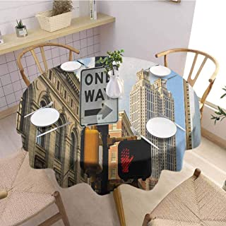 EMODFJCXZ Restaurant Round Tablecloth City One Way Sign in Front of Atlanta Skyline Downtown Apartments Urban View Round Table D70 Ivory Black Pale Blue