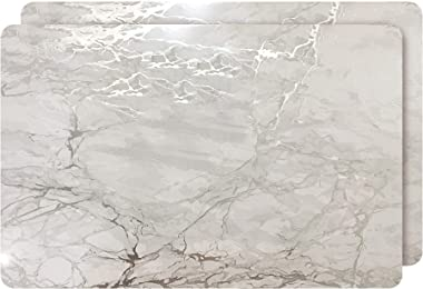 """Dainty Home Foiled Granite Thick Cork Heat Resistant Dining Table Placemats Set of 2, 12"""" x 18"""" Rectangle, Marbled Silver, 2 Count"""