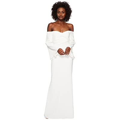 Badgley Mischka Off the Shoulder Flare Sleeve Gown in Stretch Crepe (Light Ivory) Women