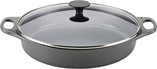 Rachael Ray 47872 3.5-Qt Cast Iron Braiser, Quart, Gray Shimmer