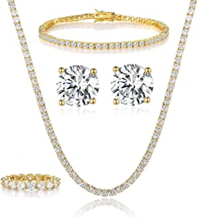 GEMSME 18K Yellow Gold Plated Tennis Necklace/Bracelet/Earrings/Band Ring Sets Pack of 4