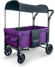 WONDERFOLD W1 Multi-Function 2 Passenger Push Folding Stroller Wagon, Adjustable & Removable Canopy, Double Seats with 5-Point Harness (Cobalt Violet)