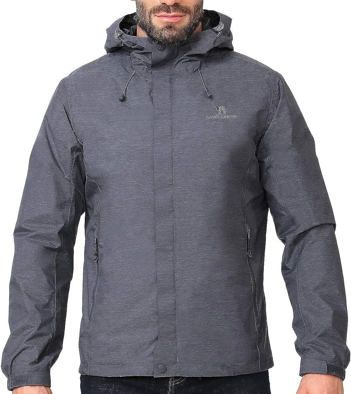 CAMEL CROWN Mens Waterproof Jacket Hooded Windbreaker Windproof Rain Coat Shell for Outdoor Hiking Climbing Traveling