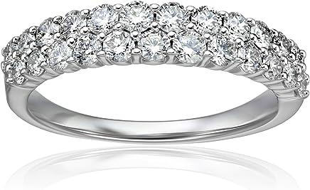 14k White Gold Diamond 2 Row Anniversary Ring (1cttw, H-I Color, I1-I2 Clarity)