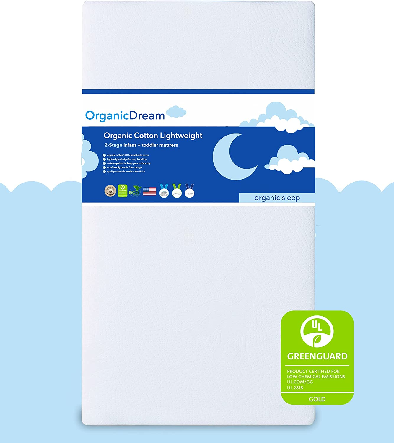 Organic Dream Crib and Max 79% OFF Seasonal Wrap Introduction Toddler - 100% Mattress Breathable Proven