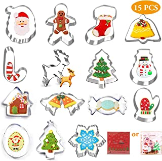 15 Pcs Christmas Cookie Cutter Set Stainless Steel Santa Cookies Cutter for Making Muffins Biscuits-Gingerbread Men, Snowflake, Christmas Tree, Santa Face, Snowman, and More Xmas Cookie Cutters molds