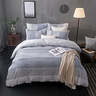 Merryfeel Duvet Cover Set,100% Cotton Yarn Dyed Stripe Bedding Set,3 Pieces(1 Duvet Cover with 2 Pillowshams) - King Grey