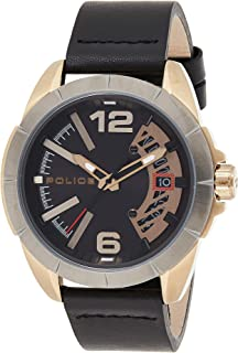 Police Banos Watch with Black Dial and Black Leather Strap For Men - PL 15652JSKU-02